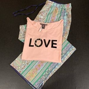 Victoria's Secret Mayfair pants / love pajama top